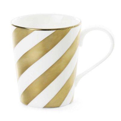 Miss Etoile White and Gold Diagonal Stripe Ceramic Coffee or Tea Mug Ø 8 x H 10 cm
