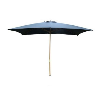 Outsunny 3m x 2m Wooden Parasol Outdoor Umbrella (Black)
