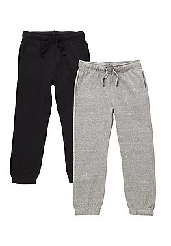 F&F 2 Pack of Cuffed Joggers - Black & Grey