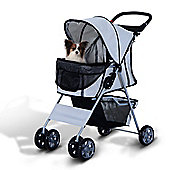 PawHut Pet 4 Wheels Travel Stroller Dog Pushchair Trolley Puppy Jogger Folding Carrier (Grey)