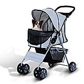 PawHut Pet 4 Wheels Travel Stroller Dog Pushchair Trolley Puppy Jogger Folding Carrier (Grey)