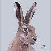 Birthday, Anniversary Greetings Card - Hare Animal Design - Blank