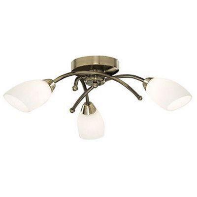 OPERA 3 LIGHT ANTIQUE BRASS FLUSH WITH OPAL GLASS