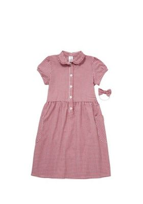 F&F School Ruffle Collar Gingham Dress with Bow Hairband Red/White 3-4 years