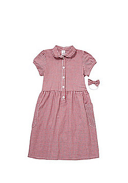 F&F School Ruffle Collar Gingham Dress with Bow Hairband - Red/White
