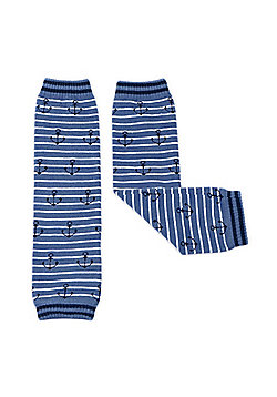 Dotty Fish Baby Leg Warmers - Blue Anchors - Blue