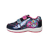 Girls Shopkins Navy & Pink Canvas Trainers Sport Shoes Hook & Loop Various Sizes - Blue
