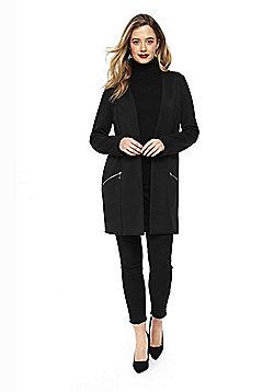 Wallis Long Line Open Front Jacket - Black