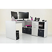 Stanton Corner / Multi Position Office Desk White / Grey Drawers