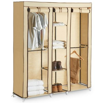 Buy vonhaus extra large triple canvas wardrobe clothes storage with vonhaus extra large triple canvas wardrobe clothes storage with hanging rail shelves storage sisterspd