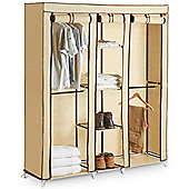 VonHaus Extra Large Triple Canvas Wardrobe Clothes Storage With Hanging Rail Shelves Storage