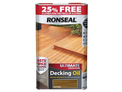 Ronseal Ultimate Protection Decking Oil Natural 4 Litre + 25%