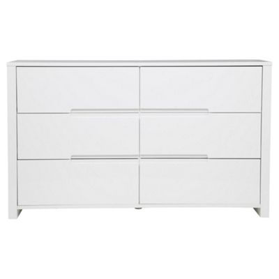 buy modena white high gloss chest of drawers 6 drawer from our