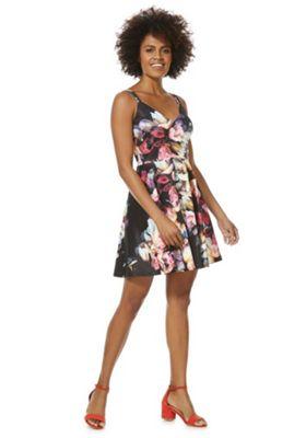 Mela London Floral Scuba Skater Dress Multi 10