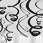 Black Hanging Swirl Decorations - 55cm