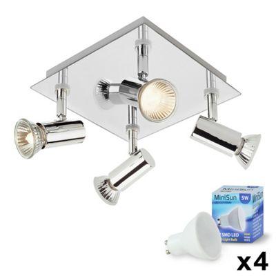 Square 4 Way LED Ceiling Spotlight, Chrome