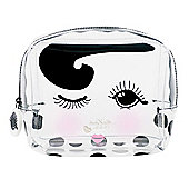 Medium Clear Winking Eye Design Cosmetic Bag with Zip by Miss Etoile