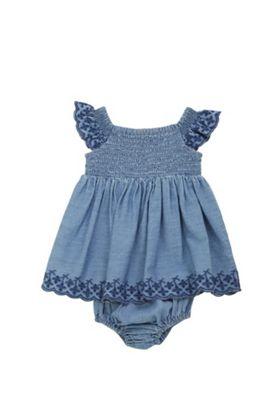 F&F Denim Smock Dress and Bloomers Set Blue 3-6 months