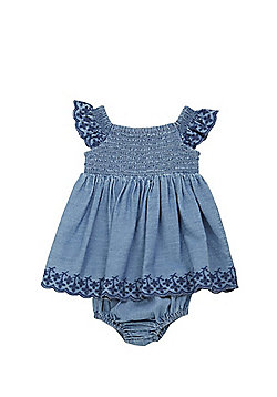 F&F Denim Smock Dress and Bloomers Set - Blue