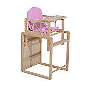 Homcom Baby Feeding Highchair Multi-function Nursery Dinning Chair and Table w/ Cushion (Pink)