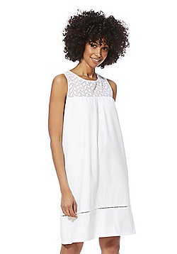 F&F Floral Embroidered Yoke Nightie - White