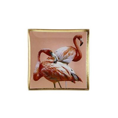 Villa Collection Glass Jewelry Make Up Tray Candle Plate FLAMINGO Design 10cm x 10cm