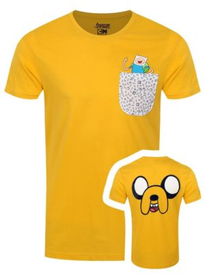 Adventure Time Jake With Finn In Pocket Men's T-shirt, Yellow