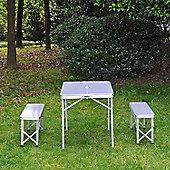 Outsunny 3pc Folding Picnic Table Bench Set Foldable Aluminum