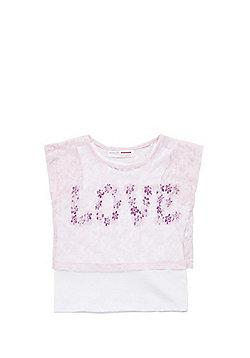 Minoti Lace Layer Love Slogan T-Shirt - Pink