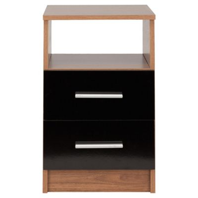 Jazz 2 Drawer Bedside Cabinet Walnut & Black Gloss
