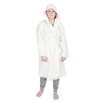Homescapes Cream 100% Combed Egyptian Cotton Hooded Kids Bathrobe, Large