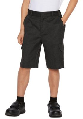F&F School 2 Pack of Boys Stain Resistant Combat Shorts 8-9 years Dark grey