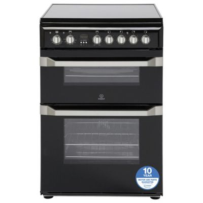 Indesit ID60C2KS Double Oven Electric Cooker - Black