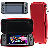 Navitech Red Compact Travel Hard Carry Case and Screen Protector For The Nintendo Switch