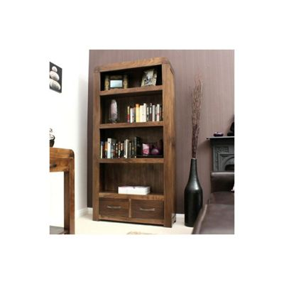 Baumhaus Shiro Large 2 Drawer Bookcase in Walnut