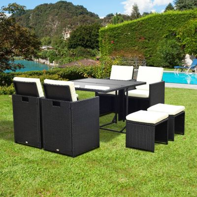 outsunny 9pc rattan garden furniture outdoor patio dining table set 8 seater stool black