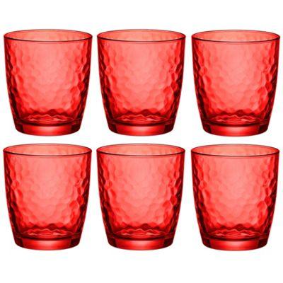 Bormioli Rocco Palatina Coloured Tumbler Glasses - 320ml (11oz) - Red - Set of 6