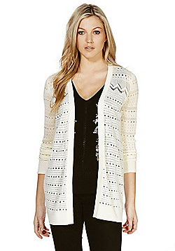 F&F Pointelle Knit Open Front Long Line Cardigan - Ivory