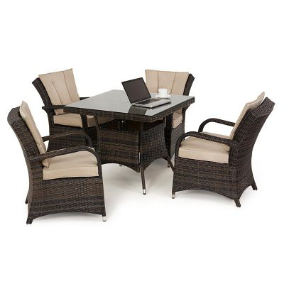 Maze Rattan - Texas 4 Seat Dining Set - 90cm Square - Brown