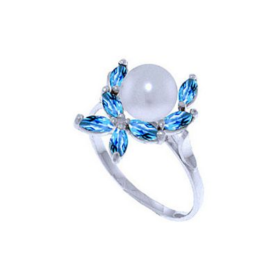 QP Jewellers Blue Topaz & Pearl Ivy Ring in 14K White Gold - Size X