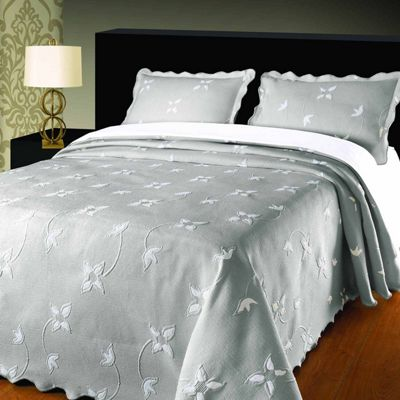 Homescapes Grey Woven Floral Pattern Bedspread, Double