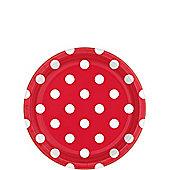 Apple Red Polka Dot Dessert Plates - 18cm Paper