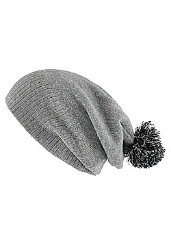 Snowstar Heather Grey and Black Beanie - Grey