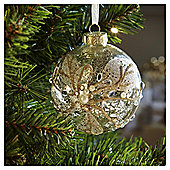 Gold Glitter and Gem Mercury Glass Christmas Bauble