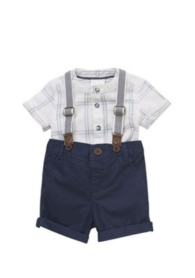 F&F Checked Shirt, Braces and Shorts Set Multi 3-6 months