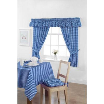 Hamilton McBride Gingham Check Oblong Tablecloth 132x178cm - Bluebell