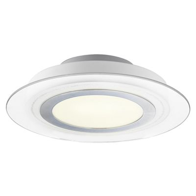 Unique LED Ceiling Light Fitting with Chrome Metal Ring and White Glass Diffuser