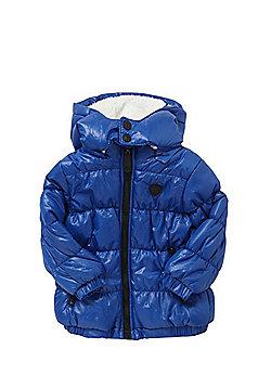 Minoti Wet Look Hooded Puffer Jacket - Blue