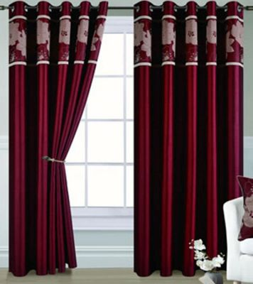 Dahlia Eyelet Curtains 72s - Red and Gold
