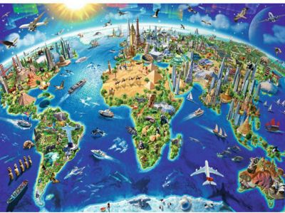 World Landmarks Map - 200XXLpc Puzzle